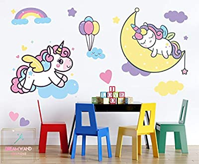 Large Removable Unicorn Decals for Kids Room Nursery Decor Wall Stickers Decoration for Girls Bedroom