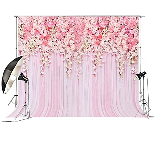 HUAYI 10x8ft Pink Floral Photography Backdrops Curtain Backdrop for Pictures...