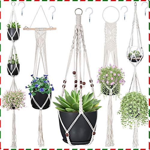 Macrame Plant Hangers, Hanging Planters Set of 5 with 5 Hooks, Hanging Planters for Indoor and Outdoor Plant Décor, Different Tier (5 Sizes)…