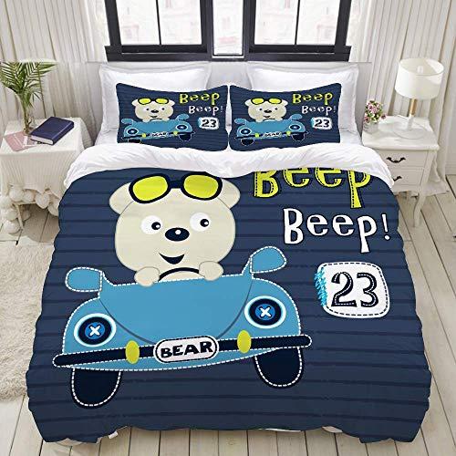 bedding Duvet Cover Set, cute teddy bear car vector illustration,Microfibre Duvet Cover Set 260 x 220cm with 2 Pillowcase 50 X 80cm