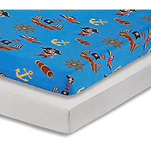 EVERYDAY KIDS 2 Pack Fitted Boys Crib Sheet, 100% Soft Microfiber, Breathable and Hypoallergenic Baby Sheet, Fits Standard Size Crib Mattress 28in x 52in, Nursery Sheet – Pirates/Grey
