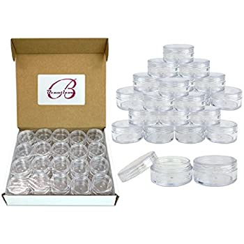 Beauticom 10G/10ML Round Clear Jars with Screw Cap Lids for Powdered Eyeshadow, Mineralized Makeup, Cosmetic Samples - BPA Free(40 Pieces)