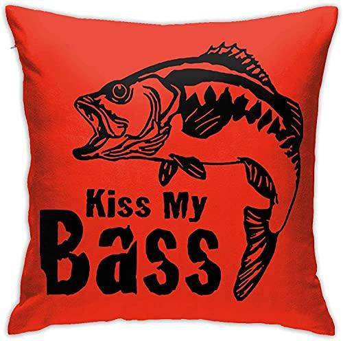 Throw Pillow Case, Bear Free Hugs Funda de Almohada, Funda de Almohada Decorativa Cojín Cuadrado para sofá Sofá Coche 18x18-Kiss My Bass