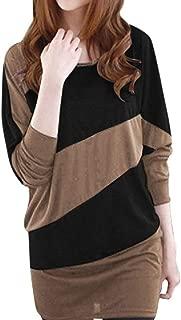 [ウルークレア]バイカラー T シャツ ドルマン風 チュニック 七分袖 2color