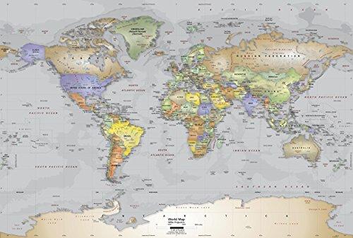 Mural de pared con mapa del mundo de la Academia Maps – Mapa político gris del océano – Tela autoadhesivo premium