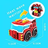 ZXZXZX Deformation Auto Spielzeugroboter, Rescue Bots Auto Spielzeug Transformation Roboter Action Figuren Spielzeug Für Kinder Baby Geschenk Mini-Version (Color : Heat Wave Warrior)