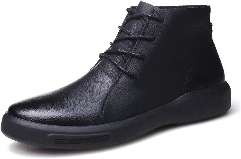 CWXDIAN Chelsea Boots England Snow Martin Men's Leather Men's shoes, Black, 40 250