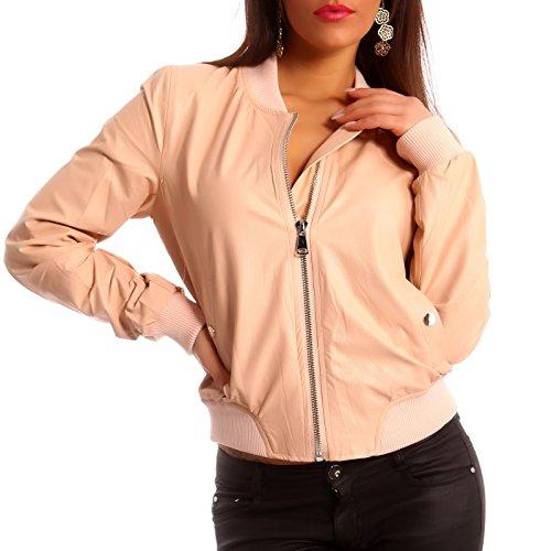 Young-Fashion Damen Jacke Bomberjacke Jacket Flieger Jacke Kunstleder, Farbe:Rose;Größe:38