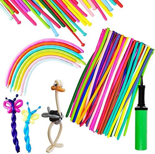 HappyHapi 150 Stück Magic Luftballons Mehrfarbig mit 1 Luftpumpe DIY Modellierballons Lange Ballons für Party Birthday Kindergeburtstag Hochzeit Weihnachten und Dekoration