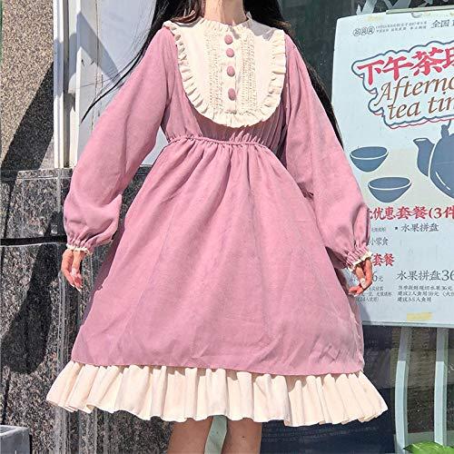 Liandan Lolita Vestido Streetwear Shirt Femenino Estilo japonés Cuello Redondo Lolita Cintura Alta Adelgazante Contraste Color Relavado Vestido Sweet Lolita Vestido Kawaii Ropa Traje de Cosplay