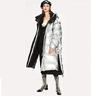 Winter New Tide Women's Long Thickened Down Jacket,Fashion Loose Warm Hooded Bright Surface Large Size Down Jacket,Silver,M