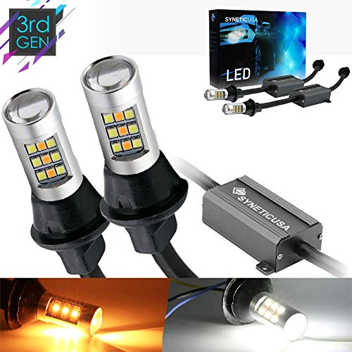 Syneticusa 3157 Error Free Dual Color Type 2 Switchback DRL LED Turn Signal Light Bulbs No Hyper Flash Built-in Resistors All in One