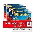 Filtrete 20x20x1, AC Furnace Air Filter, MPR 1000, Micro Allergen Defense, 4-Pack (exact dimensions 19.69 x 19.69 x 0.81)