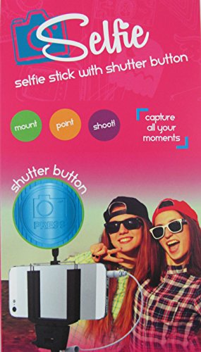 Hype ~ Selfie Stick ~ with Shutter Button and Expandable Cradle ~ Extends 3 Feet (Blue)