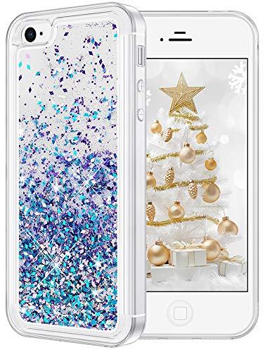 wlooo Cover per iPhone 4S/4, Cover iPhone 4S, iPhone 4 Cover, Glitter Bling Liquido Custodia Sparkly Luccichio Pendenza TPU Silicone Protettivo Morbido Brillantini Quicksand Case (Blu Viola)