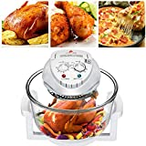 12L Convection Roaster Air Fryer Oven Turbo Electric Cooker Recipe 360° Heating,Infrared Convection, Halogen Oven Countertop, Cooking, Stainless Steel, Prepare Quick Healthy Meals (White)