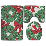 Taroot AA Christmas Print Christmas Guys Alfombra de baño de Franela cómoda Alfombrillas Set 3 Piezas Suave