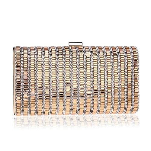G-rf Women Fashion Banquet Party Diamond Square Handbag (Black) (Color : Gold)