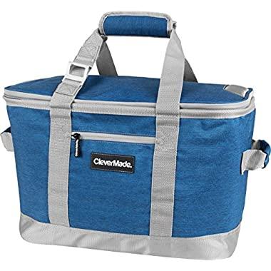 CleverMade SnapBasket 50 Can, Soft-Sided Collapsible Cooler: 30 Liter Insulated Tote Bag, Heathered Blue/Charcoal
