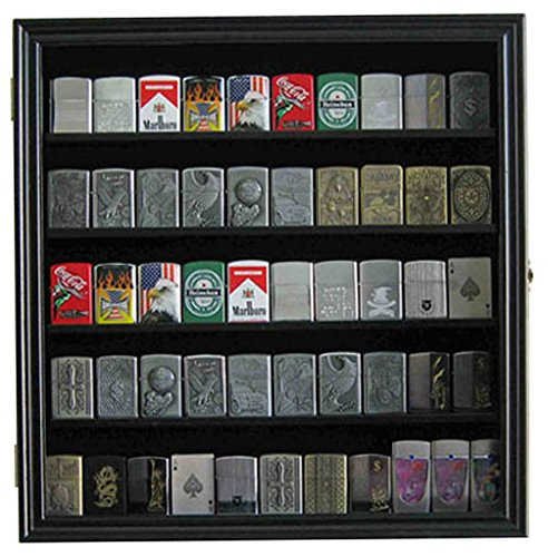 Military/Sport Lighter Matchbook Display Case Wall Cabinet. LC01 (Black Finish)