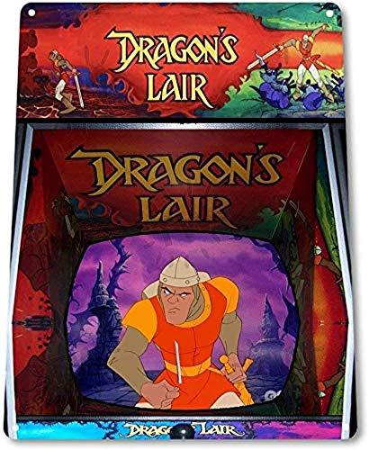 No aplicable Signo Dragon's Lair Arcade Shop Sala de juegos Marquesina Consola Decoración B067 Metal Cartel de chapa Decoración Hierro Pintura Personalización designada,12*8inch