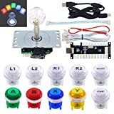 SJ@JX Arcade Game LED DIY Kit Mechanical Keyboard Switch Arcade LED Button Joystick Controller Zero Delay USB Encoder for PC MAME Retropie Jamma