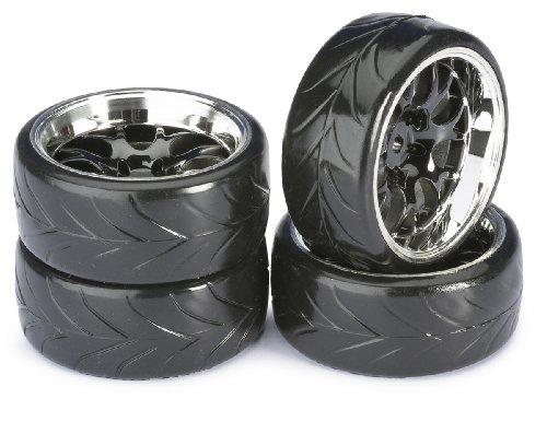 Absima – Wheel Set Drift LP Comb/Profile A schwarz/Chrom 1:10 (4 Stück) (2510040)