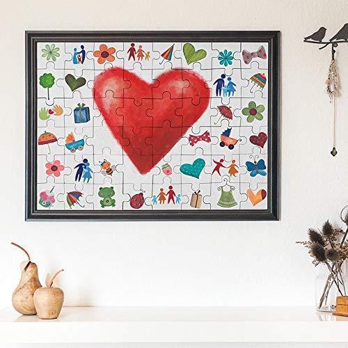 Casa Vivente Puzzle zum Bemalen zur Hochzeit, Hochzeitspuzzle zum Aufhängen mit 48 Teilen, Gästebuch, Maße: 90 x 65 x 2 cm