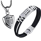 Padre Tags regalo da uomo, BRACCIALE CON INCISIONE I Love That you' re my dad silicone nero acciaio inossidabile intrecciato braccialetto con scatola regalo (I Love That you' re my dad+ciondolo)