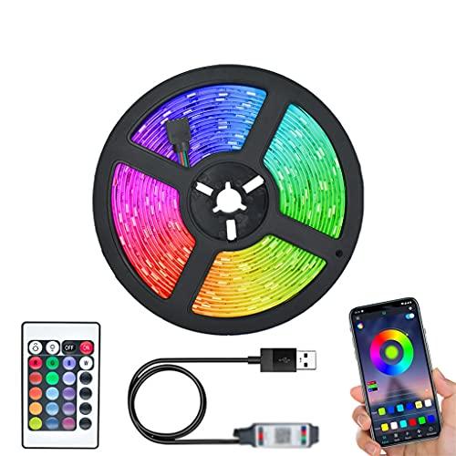 JEZZ Tira de luz LED 5V Lámpara Flexible 1M 2M 300cm Cinta Diodo Pantalla de Escritorio TV Iluminación de Fondo Cable USB 3 Control de Teclas (Color : Bluetooth Control, Size : 200CM)