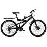 TOUNTLETS 26-inch Carbon Steel Mountain Bike,21Speed Bicycle,Full Suspension MTB Bicycle Adult Student Outdoors Unisex Portable Bike,Double Disc Brake Outroad Mountain Bicycles for Men (Black)