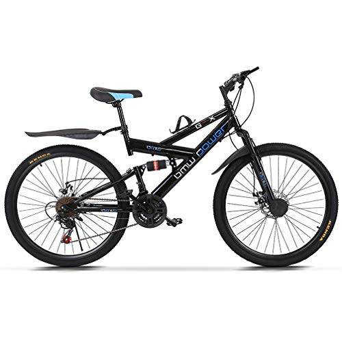 TOUNTLETS 26 inch Carbon Steel Mountain Bike,21-Speed Bicycle for Men,Full Suspension MTB Bicycle Adult Student Outdoors Unisex Portable Bike,Double Disc Brake Outroad Mountain Bicycles for Men,Black