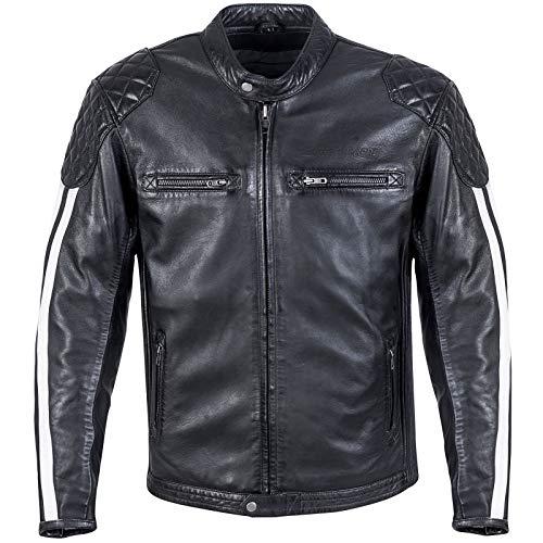 Germot Herren Motorrad-Lederjacke Cruise, Schulter- und Ellenbogen-Protektoren, figurnahe Passform, schwarz/weiß, Gr. L