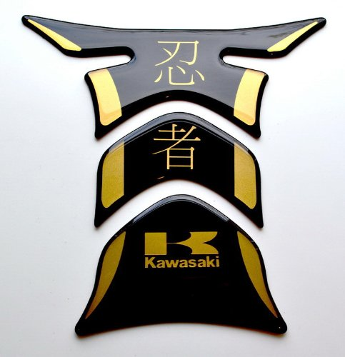 RZ Moto Kawasaki Ninja Kanji Piano Black + matt Gold Motorcycle Tank Protector pad Decal Sticker