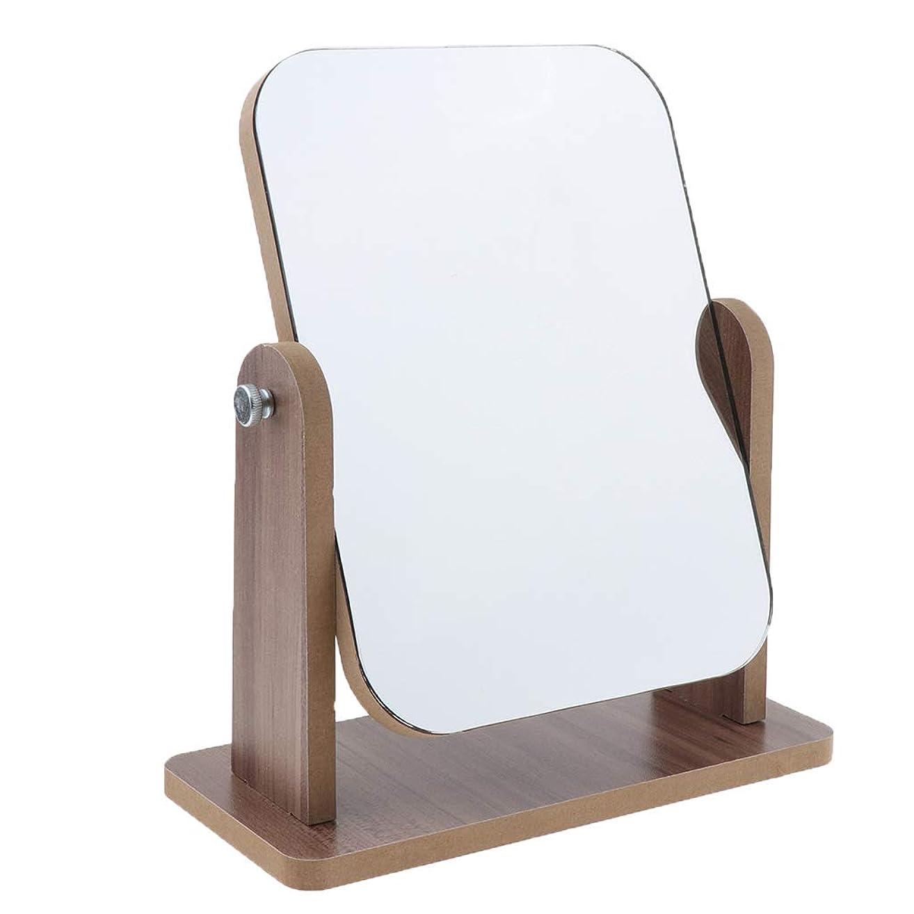 待ってマネージャーエゴマニアPerfeclan 60度回転 片面 高精細 木製フレーム 卓上化粧鏡 寝室 居間 寮化粧鏡 鏡 ミラー 全3サイズ - 中