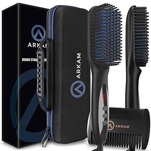 Arkam Deluxe Beard Straightener for Men - Ionic Beard Straightening Comb, Anti-Scald Feature, Hair...