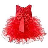 IEFIEL Vêtement de bébé Baptême Tutu Robe Enfant Froufrous 0-24 Mois Rouge 3-6...