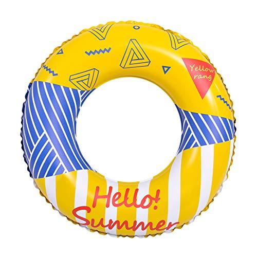 SFTYUFS Schwimmringe für Erwachsene, 59,6 cm, Gelb, Donuts, Schwimmringe für Erwachsene, aufblasbar, für Strand, Party, Floß