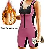 BRABIC Women's Full Body Shapewear Sport Sweat Neoprene Suit,Waist Trainer Bodysuit with Adjustable Straps for Weight Loss (M, Pink Sweat Sauna Suit)