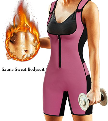 BRABIC Women Full Body Shapewear Sport Sweat Neoprene SuitWaist Trainer Bodysuit with Adjustable Straps for Weight Loss L Pink Sweat Sauna Suit
