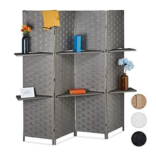 Relaxdays Paravent 4-teilig, Faltbarer Raumtrenner, Sichtschutz, 2 Ablagen, Papierseil, HxBxT 180 x 170 x 39 cm, grau, 1 Stück