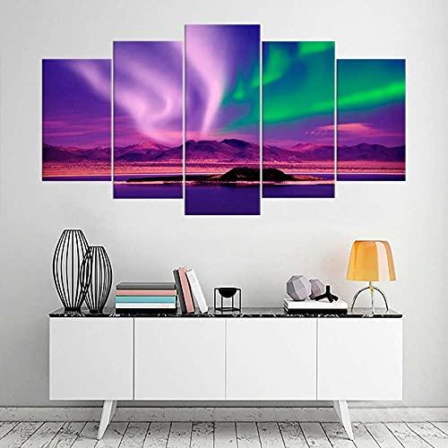 KOPASD Impresión de Lienzo de Pared Arte Imagen,Cielo Glaciar bahía Noche Cielo Luces Minimalista Pintura RomáNtica De Arte para Sala De Estar Dormitorio,100x55cm 5 Piezas