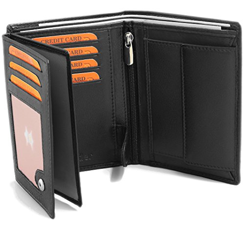 Black Leather Wallet Made from real Leather RFID blocking