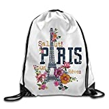 Etryrt Prime Sacs à Cordon,Sac à Dos, France Paris Tower Art Print Drawstring Backpack Rucksack Shoulder Bags Gym Bag Sport Bag