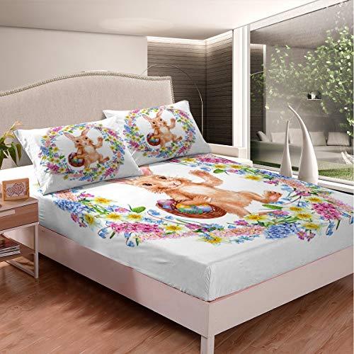 Juego de sábanas de conejo botánico, hojas florales para niños y niñas, juego de ropa de cama estampado de conejo lindo patrón animal sábana bajera colección dormitorio 2 piezas tamaño individual