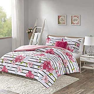 Comfort Spaces Zoe 3 Piece Comforter Set Printed Striped Floral Design with Faux Long Fur Decorative Pillow Bedding, Twin, Pink