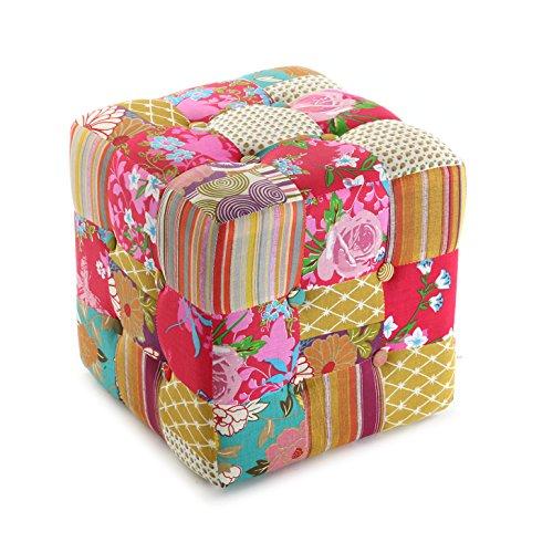 Versa Pink Patchwork Quadratischer Puffhocker Fußhocker für Wohn- oder Schlafzimmer, Maßnahmen (H x L x B) 35 x 35 x 6 cm, Baumwolle, Farbe: Rosa