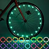 Waybelive 2 Pack LED Bike Wheel Lights, Remote Control Bicycle Tire LED Light, Change Color by Yourself, Waterproof, Super Bright to Ride at Night. Good Gift for Kids(2 Tires,Multicolor)
