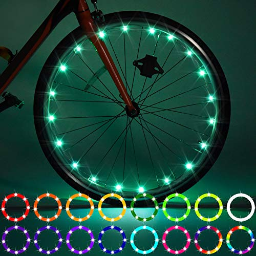 2 Pack LED Bike Wheel Lights, Remote Control Bicycle Tire LED Light, Change Color by Yourself, Waterproof, Super Bright to Ride at Night for Kids