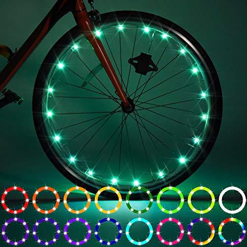 Paquete de 2 luces LED para rueda de bicicleta, control remoto, luz LED, cambia de color por ti mismo, impermeable, superbrillante para montar en la noche para niños
